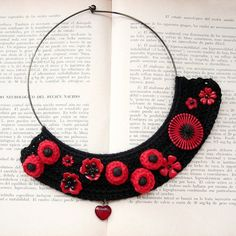 Black crochet Bib Necklace with Red Flowers
