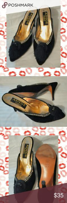 Black Velvet Heels PARIS Boutique Leather 8.5. Bought on trip to Paris . Dressy black velvet with Rhinestone trim & Tassel. Leather Upper and Sole. Very good condition. Wore twice. Very Comfortable. Made in Spain 8.5 size  Inv #01611-SBIN-005 Adige Shoes Heels
