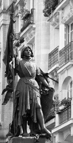 Statue of Joan of Arc as it stands at the Place Jeanne d'Arc at the cross-road of the Rue Jeanne d'Arc and the Rue de L'Hopital, Quebec, by Djof (B&W version)