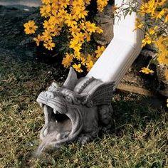 Design Toscano Roland the Gargoyle Gutter Guardian Rain Downspout Extension. 0846092089079 for sale online Ponds Backyard, Garden Pool, Backyard Landscaping, Design Toscano, Low Maintenance Garden Design, Garden Statues, Garden Sculptures, Backyard Projects, Plein Air
