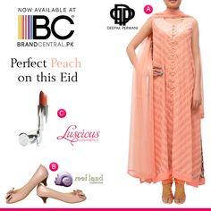 Wear Perfect Peach on this Eid a) Shop Deepak Perwani visit--->http://www.brandcentral.pk/ktd-2413 b) Shop Reefland wedges visit--->http://www.brandcentral.pk/reefland-fawn-party-wear-wedges c) Shop Luscious Cosmetics visit--->http://www.brandcentral.pk/luscious-cosmetics