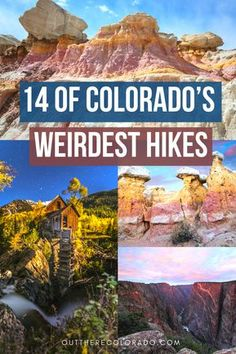 14 of Colorado's Weirdest Hikes Explore 14 of Colorado's weirdest hikes. Get ready for a one-of-a-kind adventure with these seriously bizarre yet mysterious hiking trails in the colorful state of Colorado. Find your next adventure here! Breckenridge Colorado, Aspen Colorado, Estes Park Colorado, Boulder Colorado, Road Trip To Colorado, State Of Colorado, Denver Colorado Hiking, Colorado Springs Hikes, Colorado Mountains