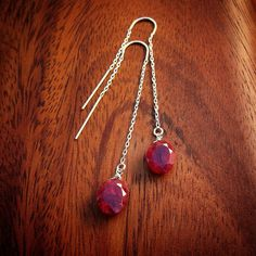 GENUINE, Natural Ruby Earrings-- 10 ct. Total Weight Absolutely Breath-Taking Beautifully Faceted, Oval Shape Rubies. by Bihls