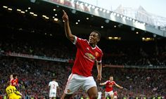 Anthony Martial celebrates after scoring the third goal for Manchester United. Diego Benaglio, Manchester United, Liverpool Premier League, Amazing Goals, Anthony Martial, Old Trafford, Man United, Big Game, Victorious