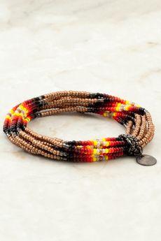 Pale Gold Seed Bead Multi Strand Stretch Bracelet