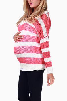 Coral White Striped Maternity Sweater