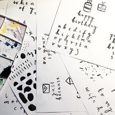 #kgobehindthescenes: Brand new collection I am nick naming 'Confetti' is well and truely on the way! This is a little behind the scenes of just a small amount of work that goes into JUST the card designing process - i letter hundreds of pages and often do the messages multiple times. I go through every single one and see if it has a 'feeling' or 'sparkle' that resonates with me and I'll scan everything in. From there I switch between photoshop  indesign and Illustrator until everything is…
