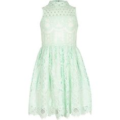 Girls green lace diamante prom dress £25.00
