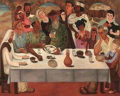 First Seder in Jerusalem, Reuven Rubin, 1949-1959, oil on canvas. Rubin Museum, Tel Aviv.