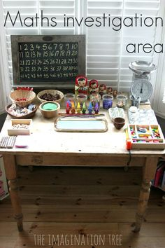 Reggio Emilia Preschool Classroom | area for playful maths investigations at home or in the classroom ... Reggio Emilia Preschool, Reggio Emilia Classroom, Early Years Classroom, Early Years Maths, Early Math, Imagination Tree, Preschool Assessment, Kindergarten Math, Preschool Classroom