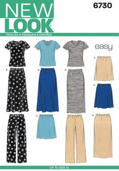 Womens Knit Tops, Skirts, Sewing Pattern 6730 New Look