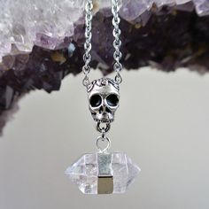 Quartz Crystal and Skull Necklace at shanalogic.com