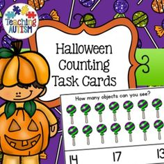 This download comes as a PDF file and contains 28 different counting task cards in the theme of Halloween ranging from numbers 0-20. Students have to count the amount of objects that they can see and then select their answer from a choice of 3 on the bottom of the task card.