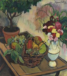 Suzanne Valadon (French 1865-1938) Nature morte au bouquet de fleurs et à la corbeille de fruits 1920