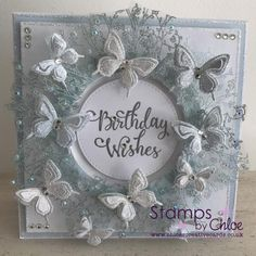 Dies by Chloe - Layered Butterfly - - Dies By Chloe Layered Butterfly - Chloes Creative Cards Flower Birthday Cards, Birthday Card Design, Chloes Creative Cards, Stamps By Chloe, Vintage Paper Crafts, Tattered Lace Cards, Embossed Cards, Beautiful Handmade Cards, Crafters Companion