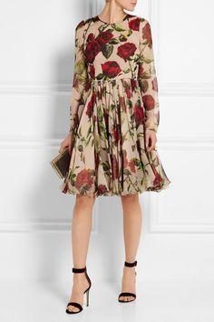Dolce & Gabbana|Robe en mousseline de soie à imprimé fleuri|NET-A-PORTER.COM