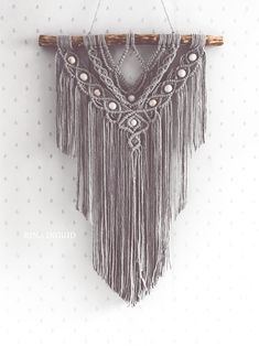 Macrame Wall Hanging with wooden beads Macrame Art, Wooden Beads, All Design, Arts And Crafts, Wall Hangings, Pattern, Fashion, Moda, Fashion Styles