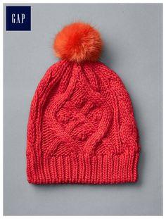 Cable knit pom-pom beanie - One Size
