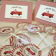 Vintage fire truck thank you notes and cupcake toppers