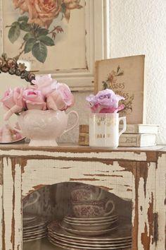 vintage china hutch...pretty vignette
