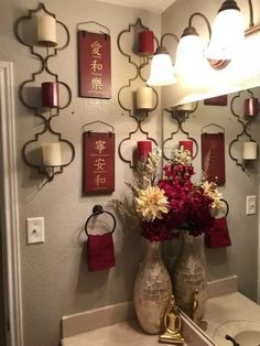 46 Elegant Red Bedroom Decor Ideas To Inspire You. Are you looking for the ultimate in bathroom decor design? Bathroom Towel Decor, Bathroom Red, Bath Decor, Bathroom Ideas, Master Bathroom, Small Bathroom, Parisian Bathroom, Bathroom Things, Relaxing Bathroom