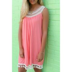 Sweet Scoop Neck Hollow Out Laced Sleeveless Dress