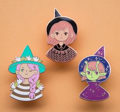 Witch Trio enamel pins