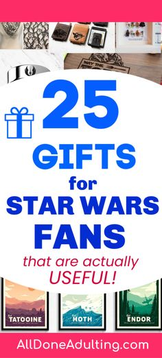 25 useful and unique gifts for the Star Wars fan in your life! Gifts for Star Wars lovers. #starwarslover #giftsforhim #disneylovergifts #starwars #starwarsgifts