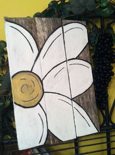 Rustic Flower Pallet Painting by HandcraftedGallery on Etsy, $45.00