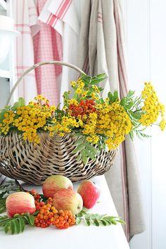 Fall Decor, Apples, Wildflowers, Grain Sacks, and Baskets