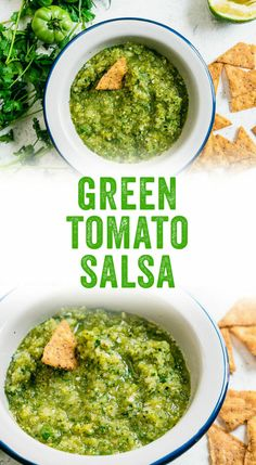 Wondering what to do with green tomatoes? Make green tomato salsa, of course! They blend into a zesty dip that tastes just like salsa verde. Tomato Salsa Recipe, Green Tomato Recipes, Salsa Verde Recipe, Vegetable Recipes, Green Salsa Canning Recipe, Green Salsa Recipes, Tomato Canning, Vegetable Soups, Veggie Food