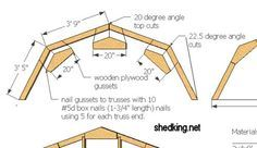 How to use a speed square to easily make angle cuts for shed walls, floors, and trusses for building your shed. Shed Building Plans, Diy Shed Plans, Barn Plans, Building Building, Building Ideas, Gambrel Barn, Gambrel Roof Trusses, Plan Garage, Tiny Cottages