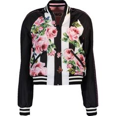 Dolce & Gabbana  Floral And Striped Reversible Bomber Jacket ($2,595) ❤ liked on Polyvore featuring outerwear, jackets, bomber style jacket, fleece-lined jackets, collar jacket, reversible bomber jacket and floral-print bomber jackets