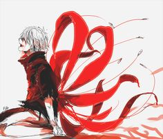 Tokyo Ghoul {Fan Art} | 'Who Is That Inside of Me' by Feliz Navidead on Tumblr <-- Kaneki's kagune as the red spider lily flower. Gah! I can't even put into words how much I love this!