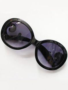 Purple Lenses Black Sleek Sunglasses