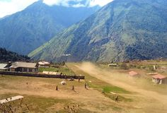 Before it was pathed. Lukla Airport , Nepal. Altitude 9,384' Length 1,500'. World's most dangerous airport.