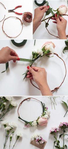 Como hacer una corona de flores con rosas. #novias #diy