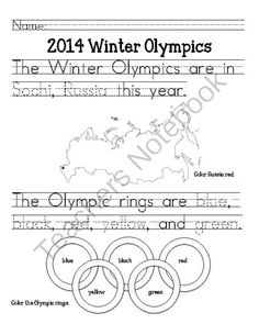 Winter Olympics: Primary from Miss Cherritt's Shop on TeachersNotebook.com -  (7 pages)  - Winter Olympics Kindergarten activity