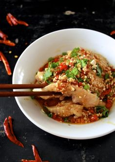 Drool-worthy Sichuan Chicken in Chili Oil Sauce (Kou Shui Ji) - The Woks of Life Turkey Recipes, Chicken Recipes, Dinner Recipes, Shrimp Recipes, Appetizer Recipes, Asian Recipes, Ethnic Recipes, Chinese Recipes, Asian Foods