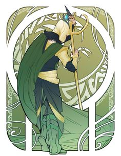 Loki - Art Nouveau. I OBVIOUSLY have to do something like this now. wooo time for some fan arrrrrt :D