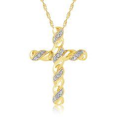 Diamond Ribbon Cross Pendant in 10k Yellow Gold