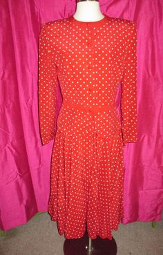 3360c90b739 vintage VALENTINO  MISS V  100% silk red polka dot 2-piece SKIRT