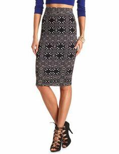 printed cotton midi skirt