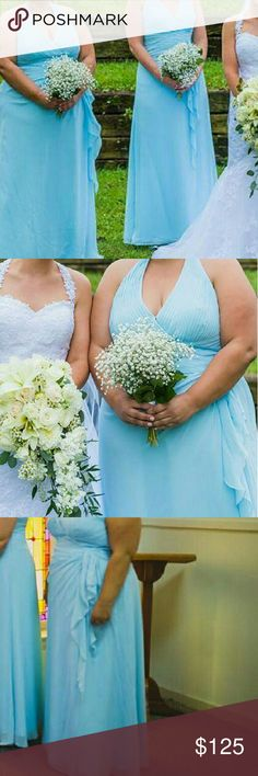 Light Blue Bridesmaid Dress--soon to be donated!! Light blue floor length bridesmaid dress from 2013 at David's Bridal. Fully lined. Cascading side ruffle. Halter top with plunging v-neck. Fabric is ruched at the bust. Size 22/24, cup size fits 40 DDD.   Worn once but have lost substantial weight since then. Fit shown in pictures.  Dry cleaned within the week of December 18-24th 2016.  If this dress is not purchased by January 1, 2017 it will be donated to The Princess Project…