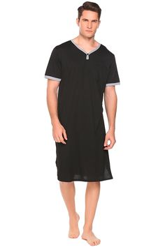 3b596e7475 Men s Nightgown Big   Tall Sleep Shirt Long Sleeve Pajama Henly Plus Size  Nightshirt S-XXXL - 2-black - CP18CGW0Z4S