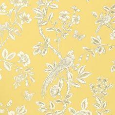 Papier peint oiseaux jaune soraya thibaut au fil des couleurs - Papier peint oiseaux ...