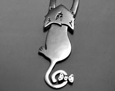 Handmade Sterling Silver 'Miss Mischief' the Cat Necklace
