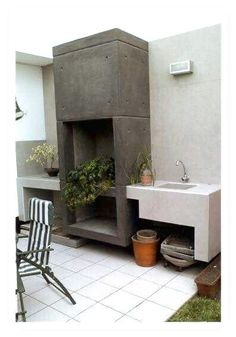 A Guide To Excellent Patio Barbecue Design Outdoor Kitchen Bars, Bbq Kitchen, Outdoor Kitchen Design, Kitchen Ideas, Outdoor Rooms, Outdoor Living, Design Barbecue, Parrilla Exterior, Interior Design Living Room