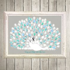 Peacock thumbprint guest book
