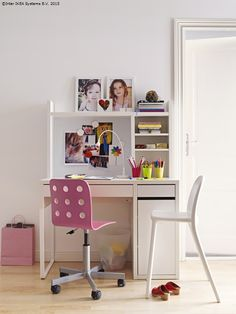 Micke desk by IKEA is a great piece to get for any small space – I can't imagine a better desk to fit a small nook. Micke is great as a working desk . Ikea Bissa, Ikea Molger, Ikea Micke, Bedroom Desk, Kids Bedroom, Ikea Catalogue 2015, Cute Desk Chair, Girl Desk, Study Room Decor